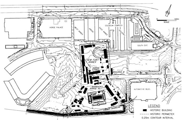 Composite map of the New Fort, circa 1840-1950 within the context of the CNE grounds