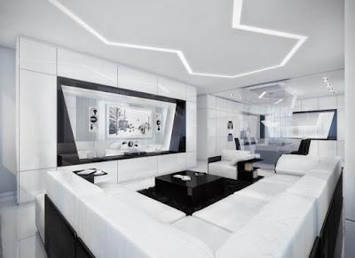 แบบห้องรับแขกสีขาว ดำเพดานสวย