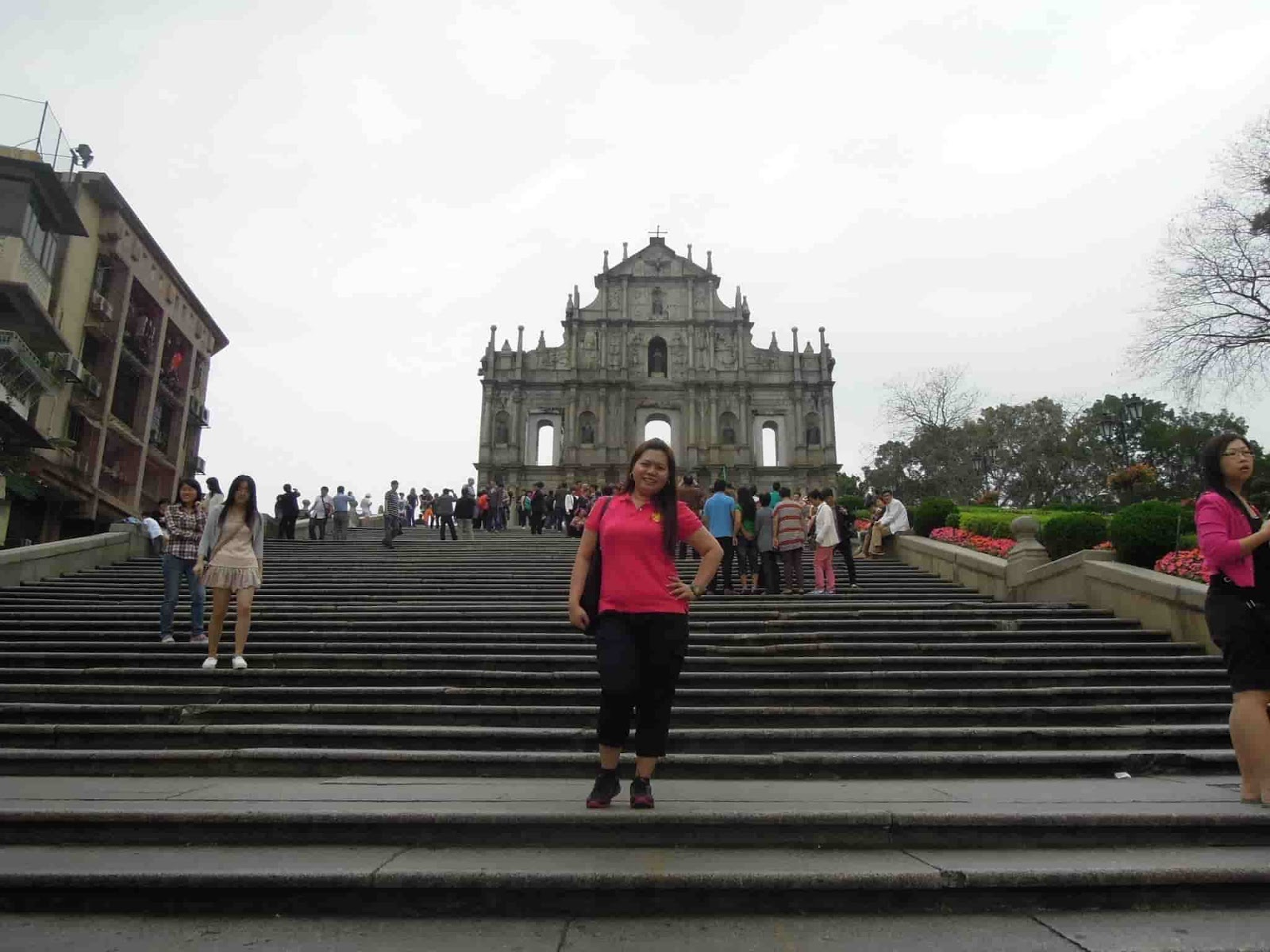 A photo at the stairs with the Ruins of St. Paul's in the background in Macau