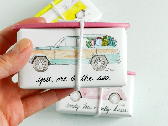 Vintage Car Soap Illustrations designed for Anthropologie by Elise Engh