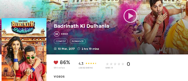 Badrinath Ki Dulhania (2017) Hindi Movie HD 720p avi mp4 3gp hq Download free
