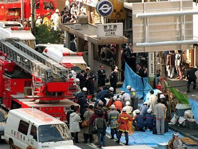 The sarin gas attack on the Tokyo subway system on March 20, 1995 killed 13 and left more than 6,000 people injured.