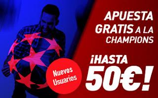 Apuesta Gratis 50 euros a Champions en Sportium 4-6 diciembre