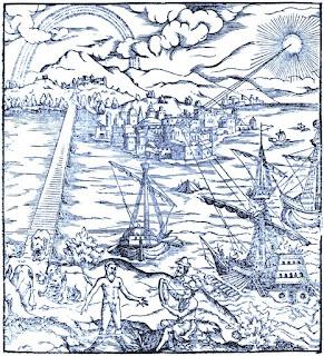 Bloqueo marítimo del puerto grande de Siracusa por parte de la flota romana, con el Etna observando la postal desde el fondo.