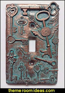Keys Steampunk Stone Copper Patina Light Switch Cover