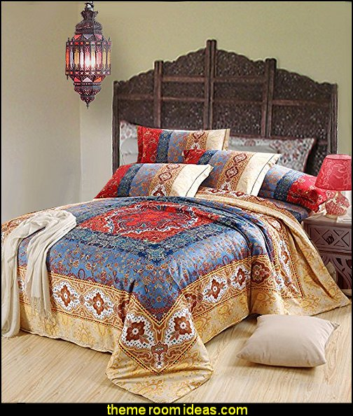 Moroccan Bedding Wood Room Divider 4 Panel Carved Screen