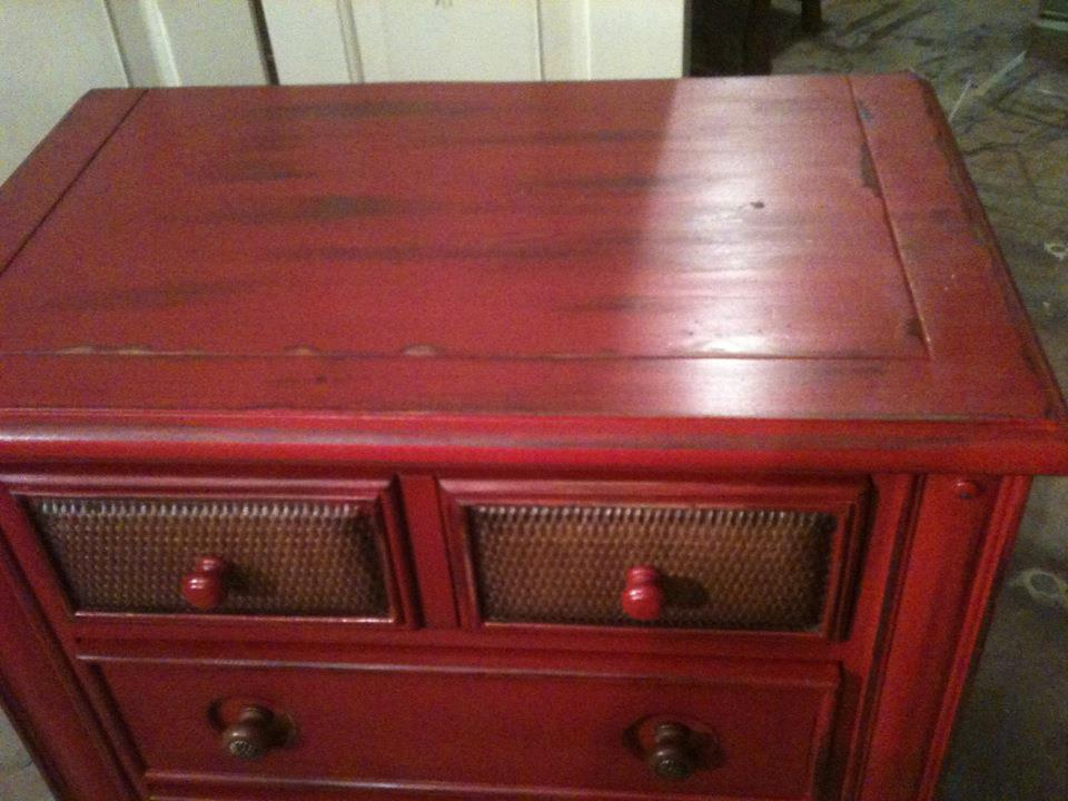 Furniture By Mk Designs Distressed Colonial Red Chest