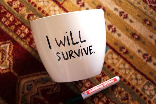 DIY Blumentopf I will survive