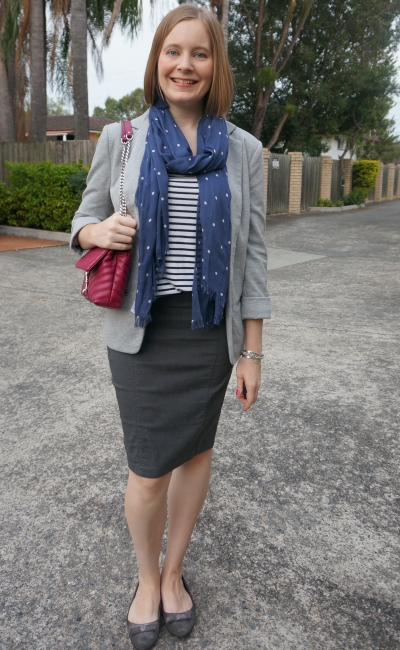 print mixing office outfit striped tank blazer pencil skirt polka dot scarf rebecca minkoff edie bag | away from blue