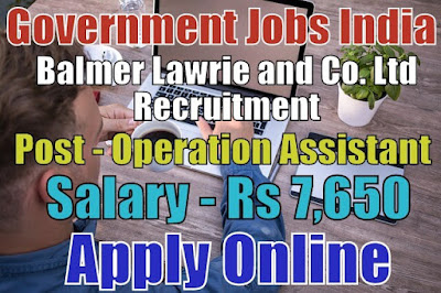 Balmer Lawrie Recruitment 2017 for Operation Assistant Post