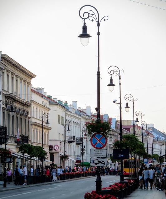 Lampposts of Nowy Świat Street in Warsaw, Poland