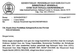 Surat Edaran Bantuan Pemerintah bagi KKG/MGMP/MKKS