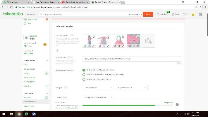 informasi produk saat menambahkan produk baru di Tokopedia