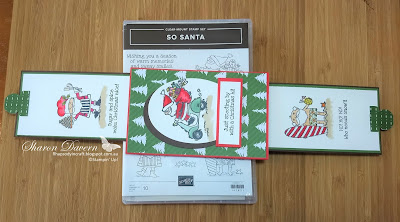 So Santa, fancy fold, double slider card, heart of Christmas, rhapsody in craft, Christmas Card,