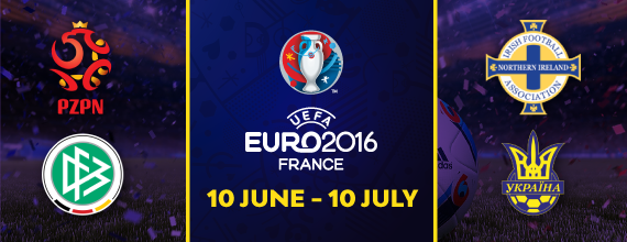Hollywoodbets' Euro 2016 Group C Preview Banner With Link to Group C Preview as well as images of Germany, Northern Ireland, Poland, and Ukraine's Country Crests