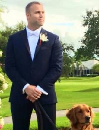 man uses dog bestman