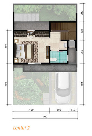 6 denah rumah minimalis ukuran 7x11 meter 2 kamar tidur 2