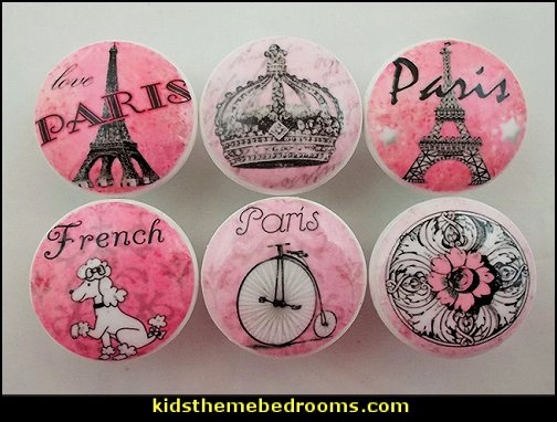 Pink Paris Cabinet Knobs   Paris themed bedroom ideas - Paris style decorating ideas - Paris themed bedding - Paris style Pink Poodles bedroom decorating -  French theme Paris apartment furniture - Paris bedroom decor - decor Paris style French Poodles - room decor french poodle - Paris Postcard bedding - Paris themed teenage bedroom ideas - Paris eiffel tower decor - decorating ideas for paris themed bedrooms - Paris Inspired Nursery - Paris bedrooms