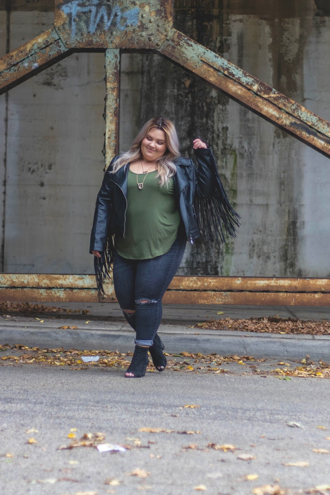 natalie in the city, natalie Craig, plus size fashion, Chicago plus size fashion blogger, affordable plus size clothes, fashion to figure, fringe faux leather moto jacket, plus size leather jacket, target mossimo jeans, best plus size jeans, open toed wide width booties, midwest blogger, Chicago plus size model, curves and confidence