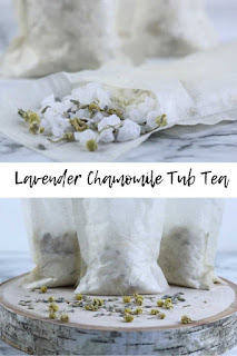 How to make tub tea.  DIY bath tea for dry skin.  This bath diy has herbs and essential oils to soothe dry skin.  Dry skin remedy with this diy bath stuff.  This bath stuff diy has chamomile and lavender.  DIY bath recipes are fun to make and fun to use.  DIY bath and beauty recipes like this are inexpensive and help your dry skin.  It has natural essential oils for their skin benefits.  #tubtea #bathtea #herbalbeauty #essentialoils #lavender #chamomile #milkbath #bathsalt #seasalt #diy