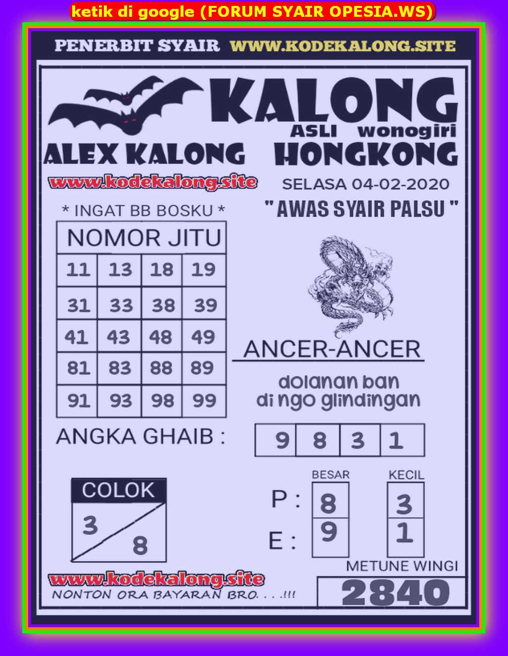 Kode syair Hongkong Selasa 4 Februari 2020 102