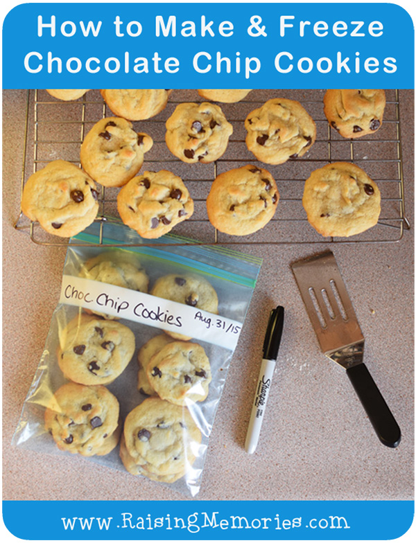 Freeze Chocolate Chip Cookies for After School Snacks and Lunch Treats