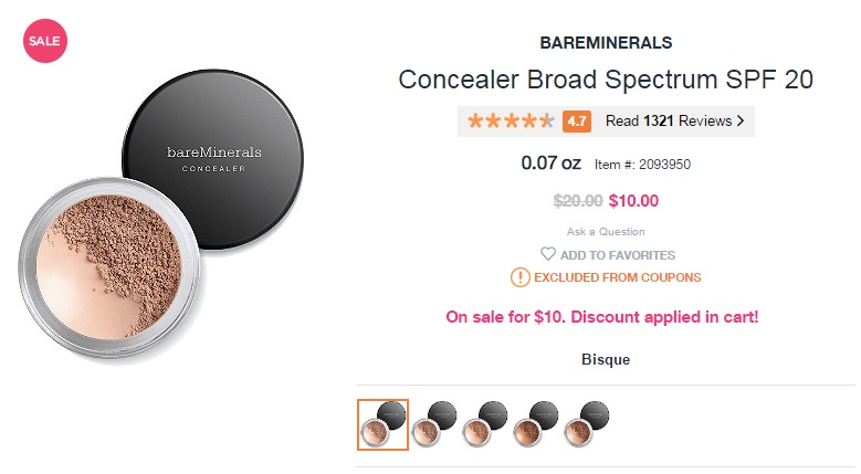 BareMinerals Concealer Broad Spectrum SPF 20 for only $10 (reg $20)