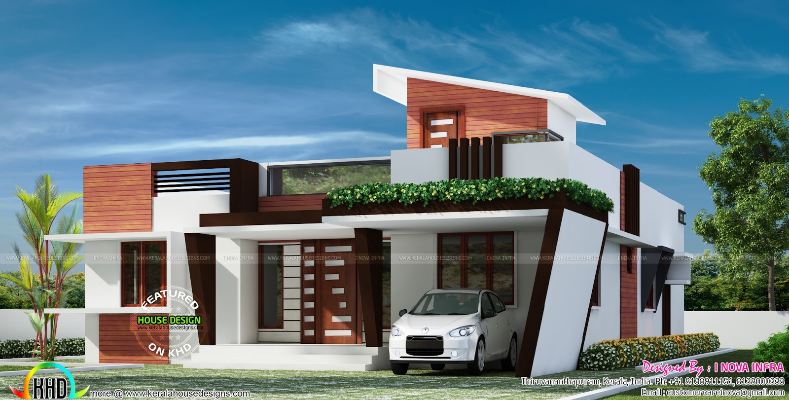 1653 sq ft contemporary one floor house kerala home for One floor farmhouse plans
