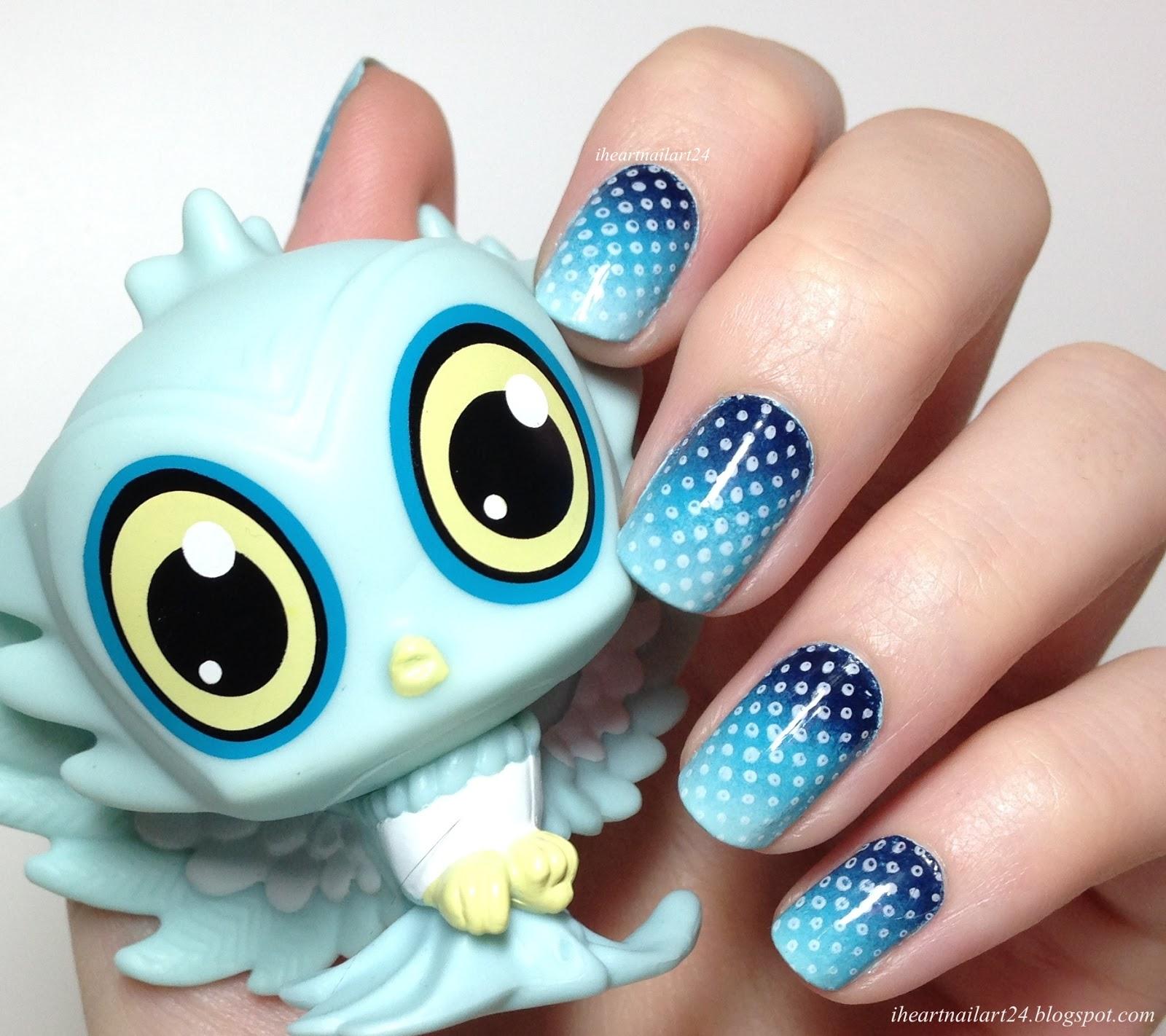 Blue Gradient Nail Art | I Heart Nail Art