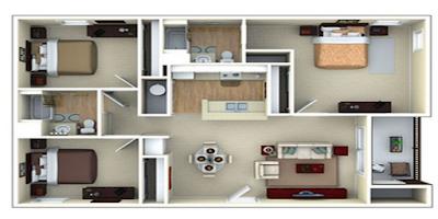 contoh denah rumah minimalis 3 kamar  modern 6x12