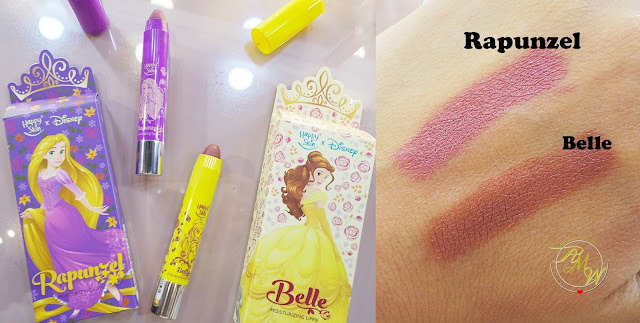 a photo of Happy Skin X Disney Princess Moisturizing Matte Lipsticks  Rapunzel and Belle swatch