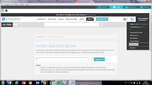 Sidan ut i Silhouettes butik där du ska skriva in koden.