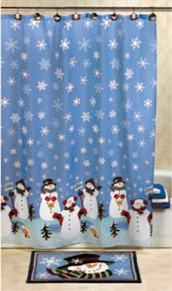 Snowman Christmas Holiday Winter Fabric Shower Curtain