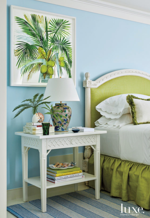 Blue Painted WAlls in Tropical Bedroom