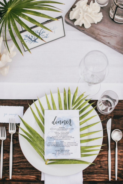 Palm Leaf Frond Tropical Table Setting Tabletop Decor Idea
