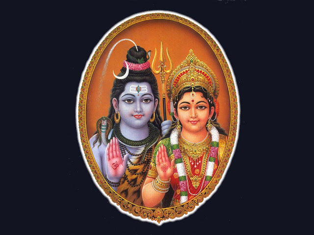 Lord Shiva & Parvathi  Wallpaper In Blue Background