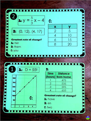 slope task cards activity