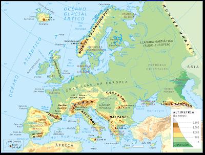 Resultado de imagen de MAPA RELIEVE EUROPA