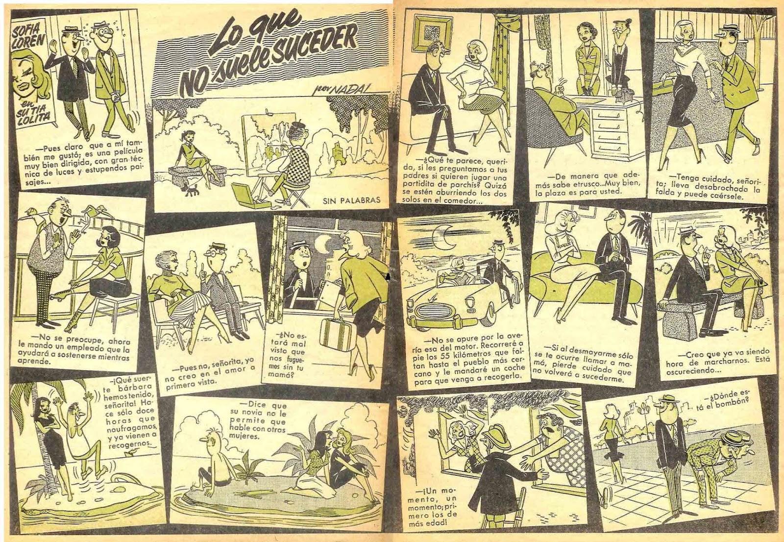 Doble página dibujada por Angel nadal Quirch para Can Can nº 0 Bruguera