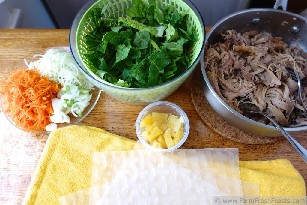 Kalua Pig Summer Roll Ingredients with Kohlrabi, Carrots and Pineapple | Farm Fresh Feasts