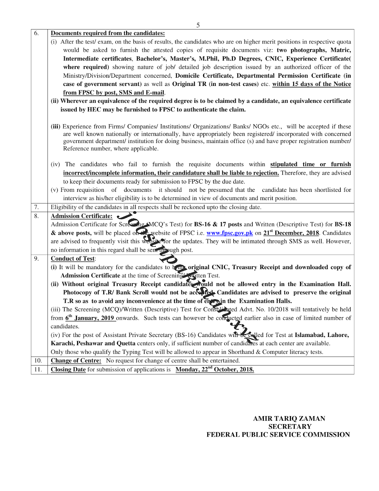 FPSC Jobs October 2018 Advertisement 4/5