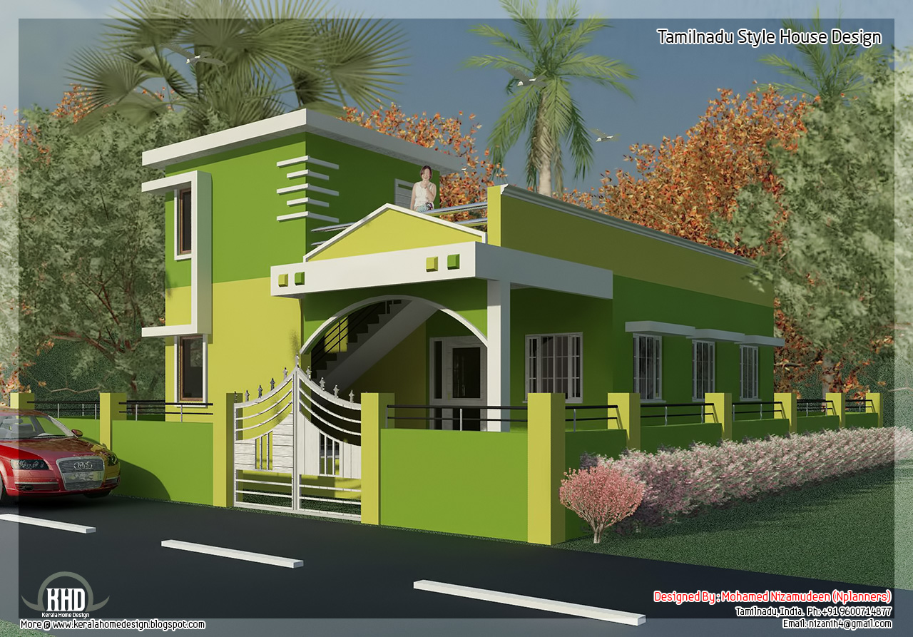 875 2 bedroom single floor home design kerala for Tamilnadu house designs photos