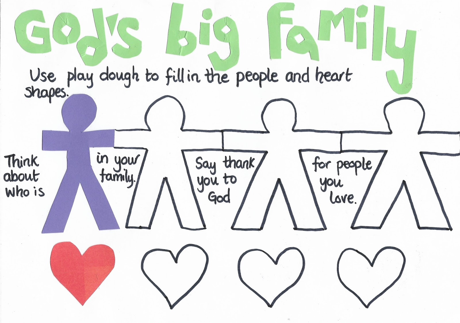 Flame: Creative Children's Ministry: I am part of God's Big Family Play  Dough Mat