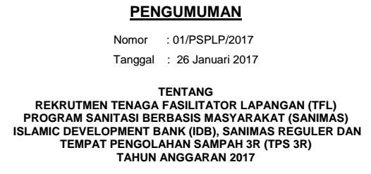 REKRUTMEN TENAGA FASILITATOR LAPANGAN (TFL)