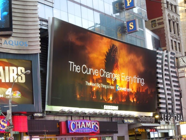 Samsung Curved TV Godzilla billboard Times Square