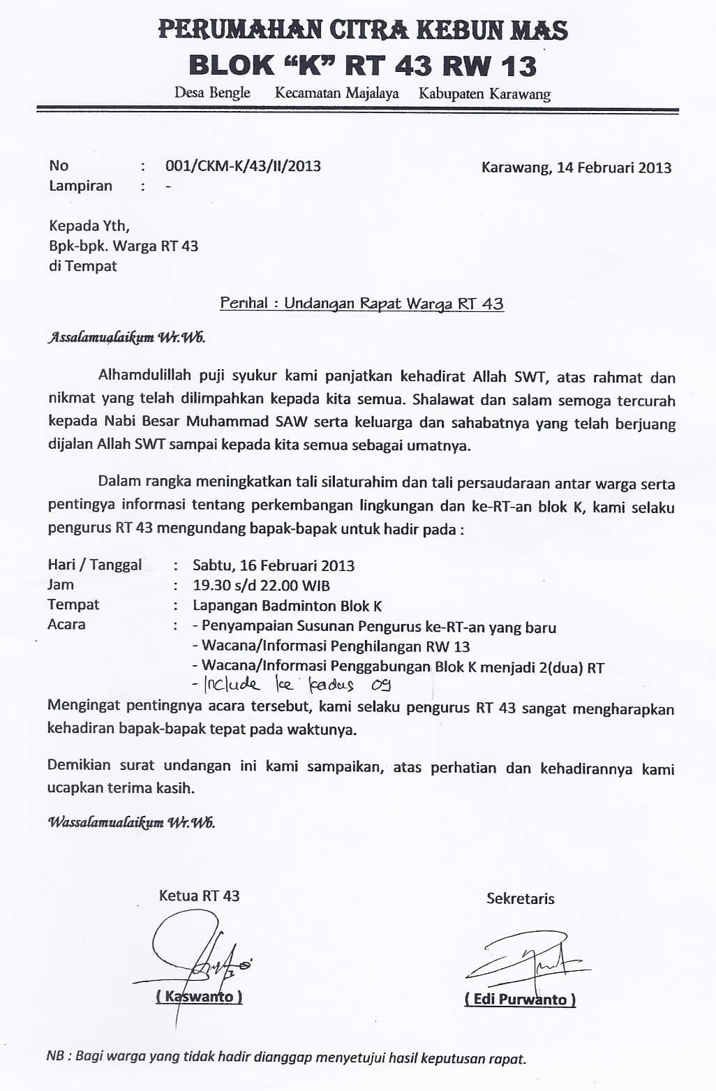contoh surat undangan rapat rt