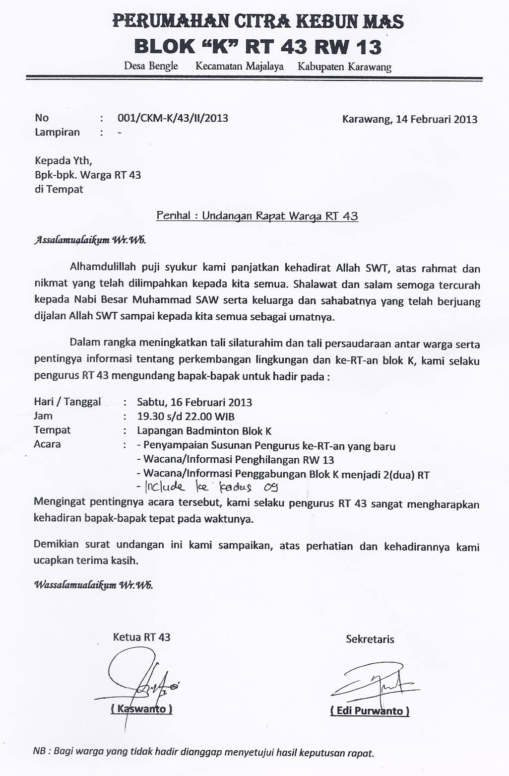 Contoh Surat Resmi Undangan Rapat Perusahaan