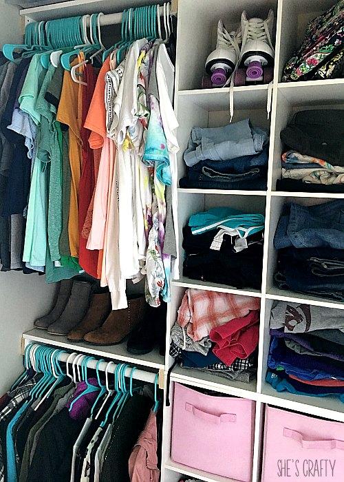 clothes, closet, shoes, bins, cubbies