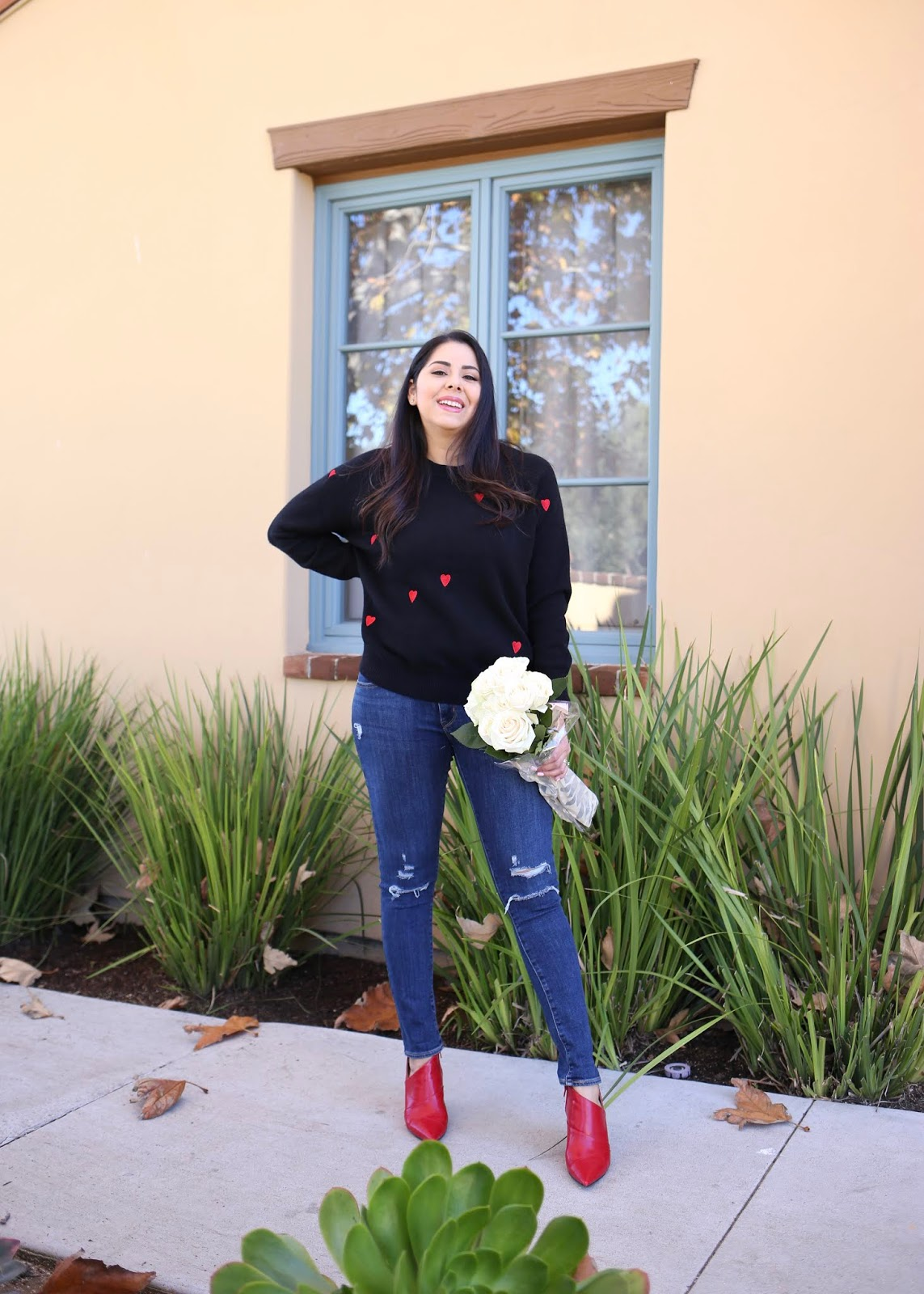 Valentine's Day sweater outfit, casual vday outfit