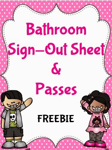 An Apple For The Teacher Bathroom Passes and Sign-Out Sheets Freebie